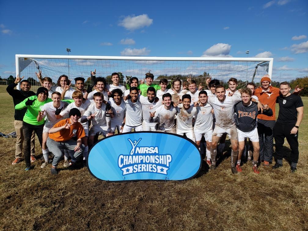 Men's Club Soccer Team with NIRSA Championship Series banner