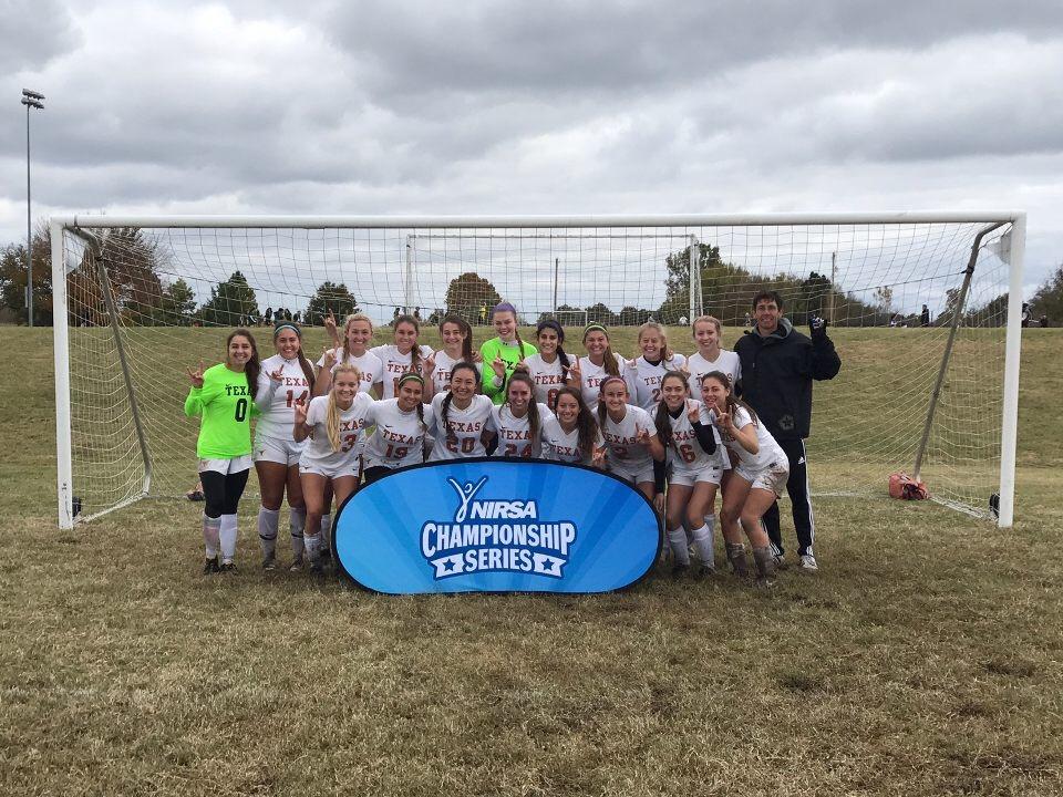 Women's Club Soccer Team with NIRSA Championship Series banner